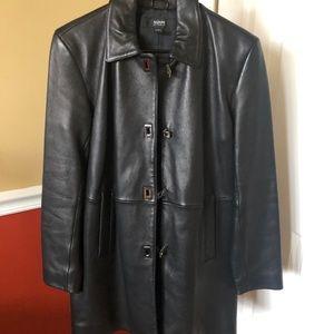Alfani long genuine leather jacket  size small